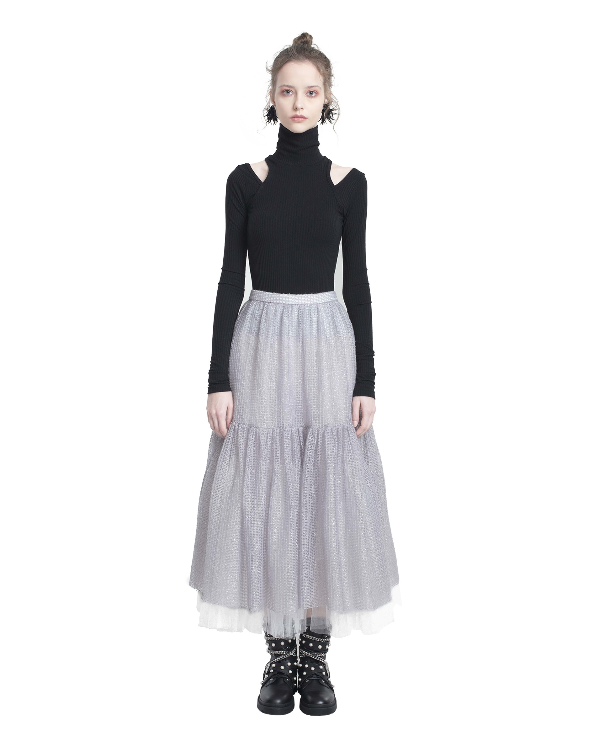 Tiered Sparkly Mesh Skirt