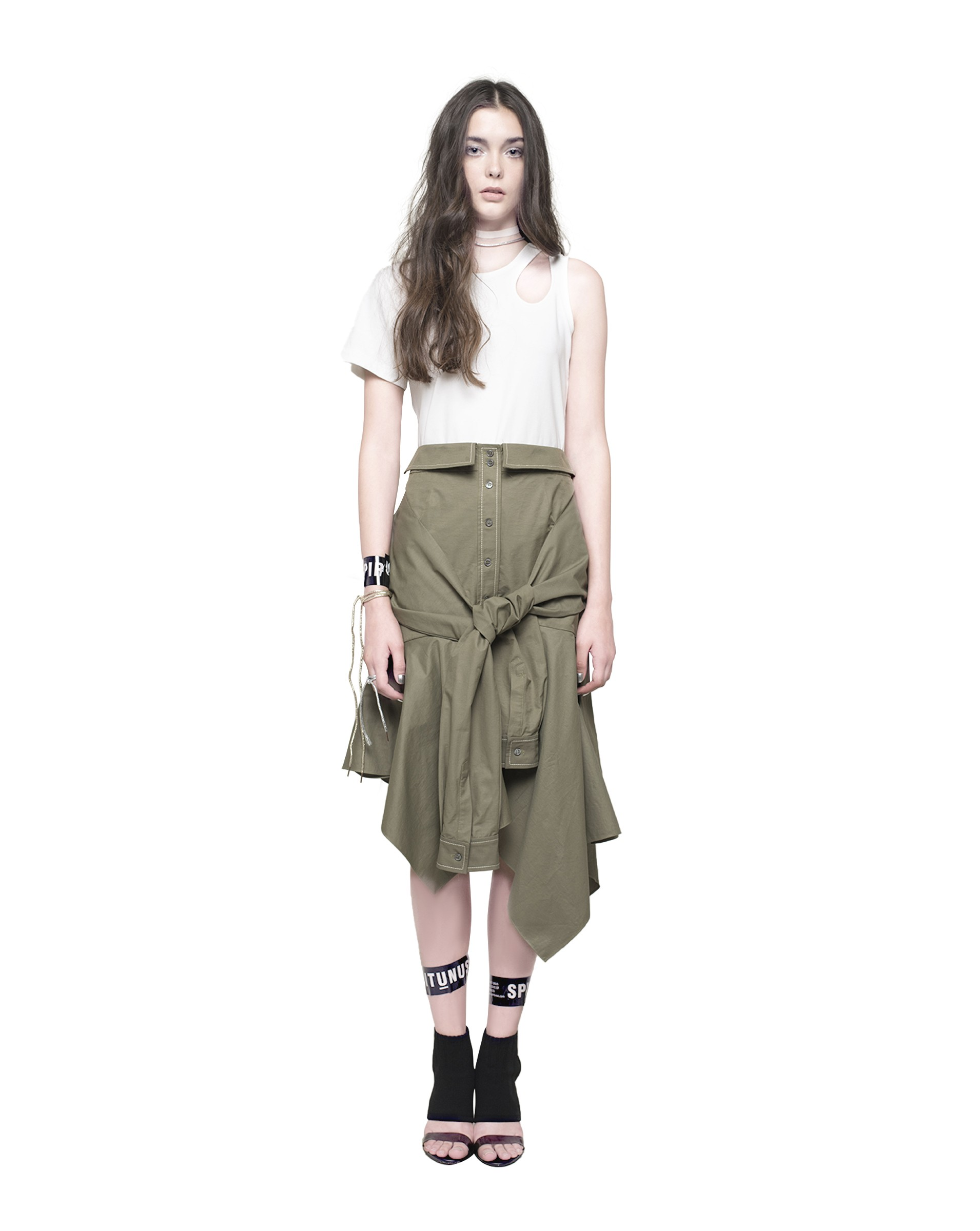 Asymmetric Wrapped Skirt With Tie Front