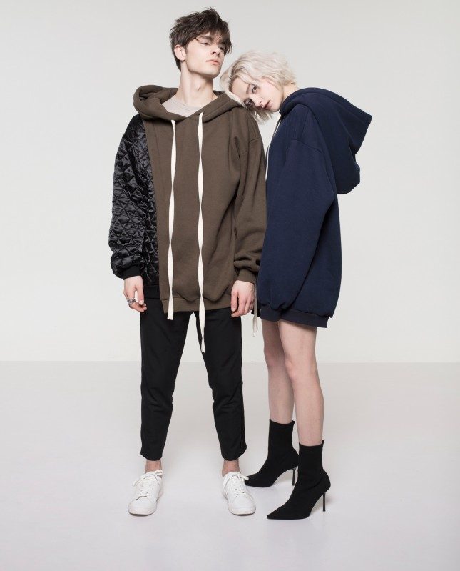 Contrast Quilted Panel Hoodie (Unisex)