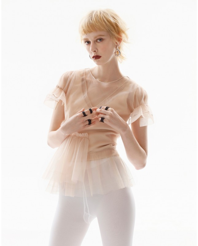 Tulle-layered Tank Top