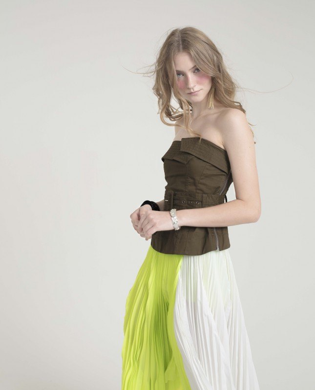 Trench Bustier Top with Belt