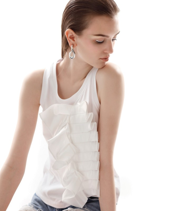Ruffle Cotton Tank Top