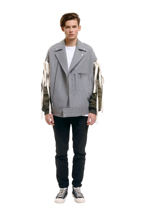 Oversized Panelled Biker Jacket (Men)