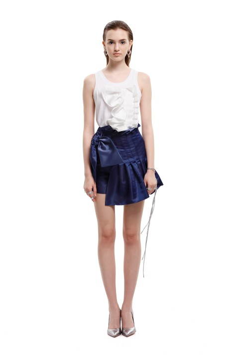 Bow-embellished Pleated Shorts