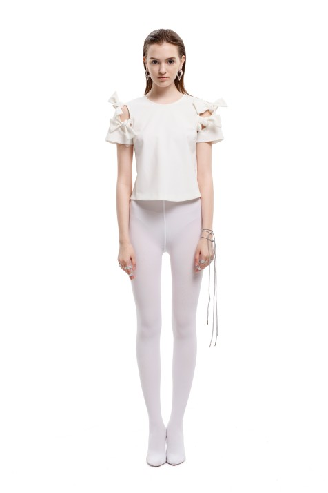 Bow-detailed Cut-Out Cropped Top