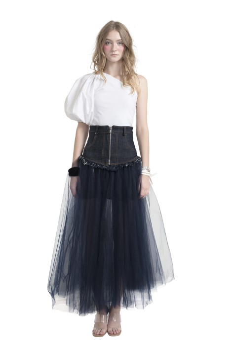 Tulle-Trimmed Denim Skirt
