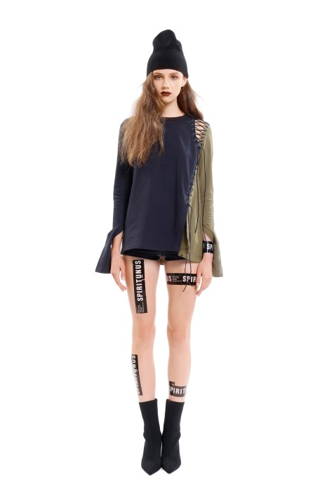 Contrast Panel Lace-up Top