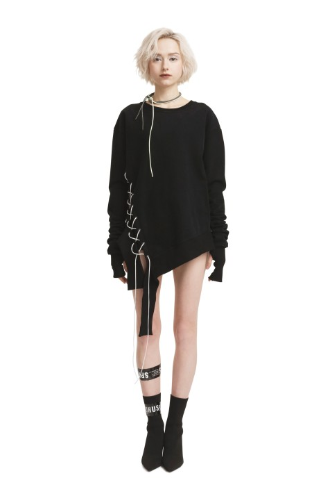 Asymmetric Lace Up Sweatshirt