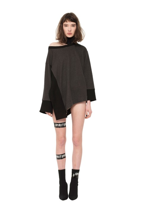 Asymmetric Sweatshirt with Separated Collar