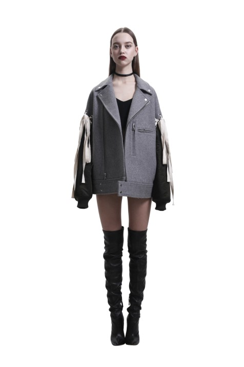 Grey & Green Panelled Biker Jacket