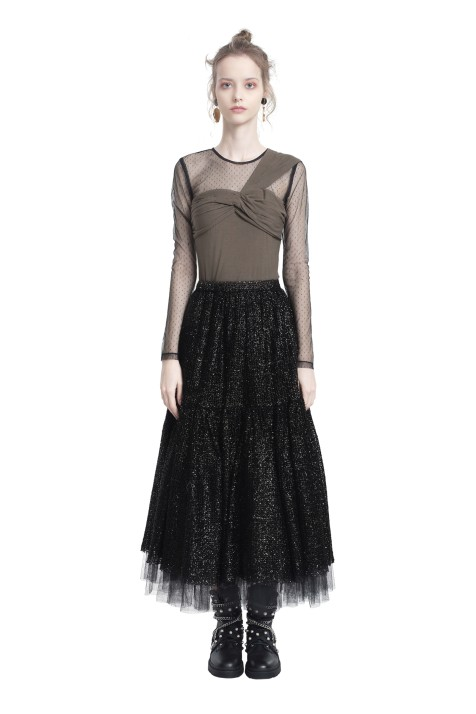 Knotted Mesh Tulle Top