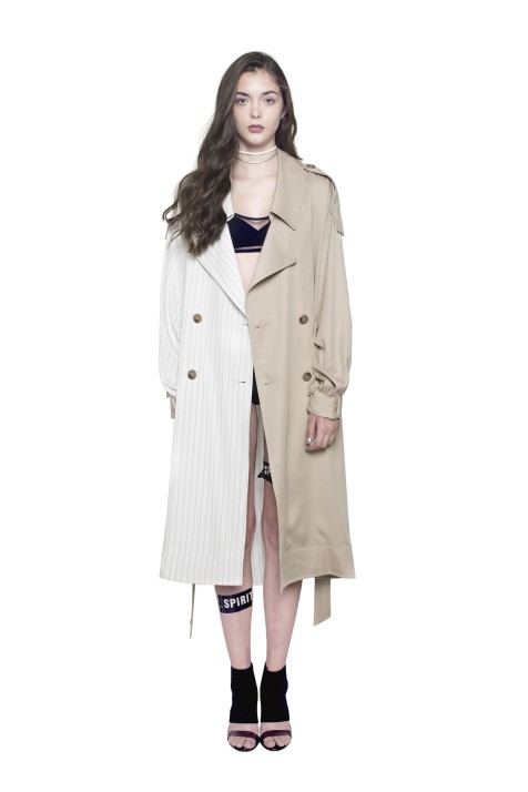 Mixed-Fabric Trench Coat