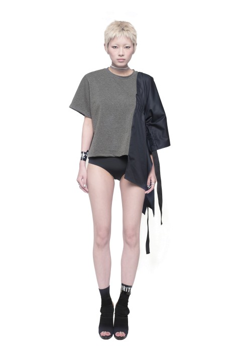 Asymmetric Contrast Panel Drawstring Top